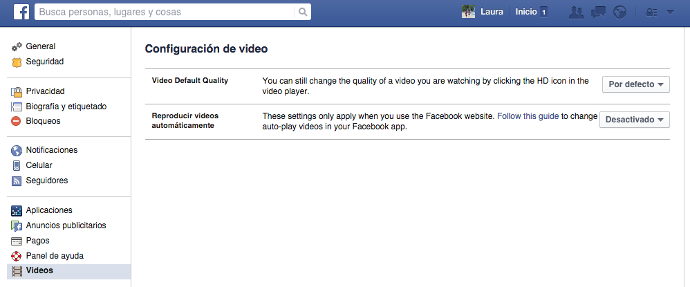 Reproducción automática de vídeos en Facebook