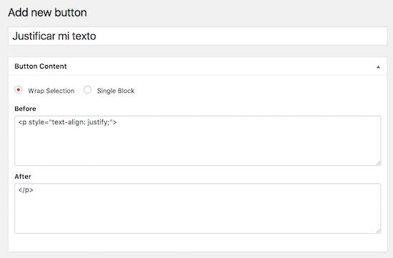 wordpress custom buttons justificar código
