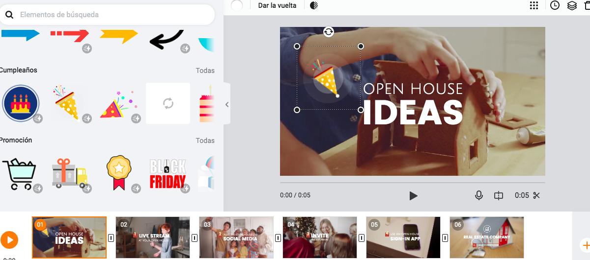 flexclip elementos animados editor de vídeo